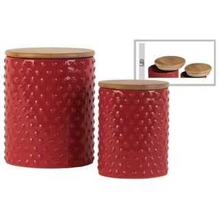 Round Ceramic Canister With Pimpled Pattern, Set of 2, Red