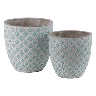Cement Round Embossed Diamond Design Pot, Set of 2, Turquoise