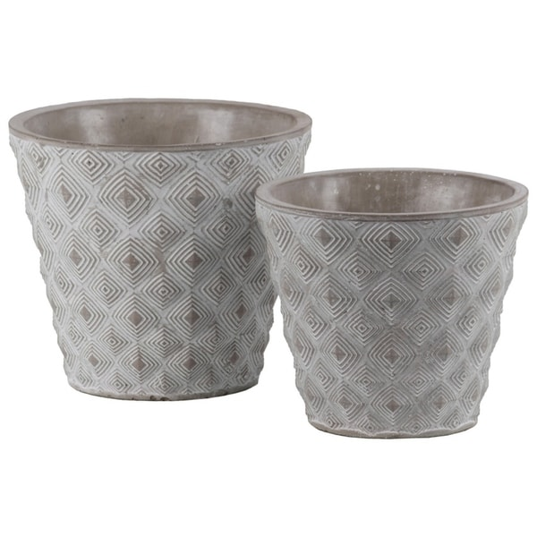 Cement Round Embossed Concentric Diamond Design Pot, Set of 2, Gray