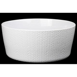 Ceramic Wave Design Round Bowl Coated In White Finish