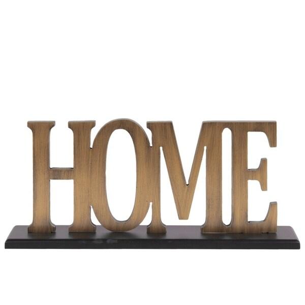 "Wood Alphabet Decor ""Home"" On Black Rectangular Base, Gold"