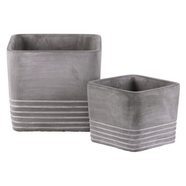 Cement Square Pot With Ribbed Band Rim Top, Set of 2, Gray