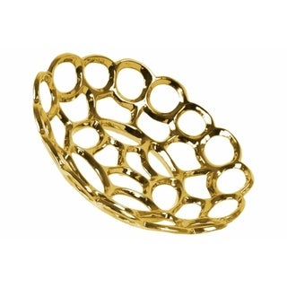 Ceramic Concave Tray With Perforated and Chain-link Pattern, Large, Chrome Gold