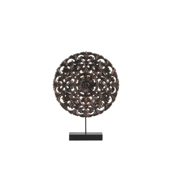 Floral Patterned Round Wooden Wheel Ornament On Rectangular Stand, Small, Bronze