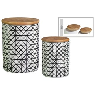 Cylindrical Ceramic Canister With Bamboo Lid, Set of 2, White