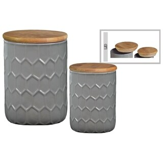 Honeycomb Pattern Ceramic Cylinder Canister with Bamboo Lid, Set of 2, Gray