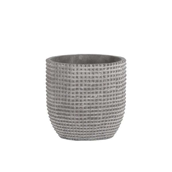 Cement Engraved Square Lattice Design Pot With Tapered Bottom, Medium, Light Gray