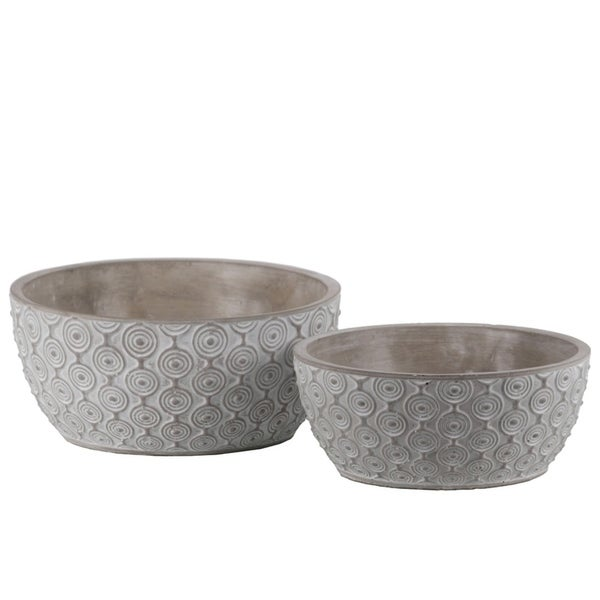 Cement Low Round Embossed Concentric Circle Design Pot, Set of 2, Gray