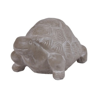 Cement Turtle Figurine In Concrete Finish, Gray