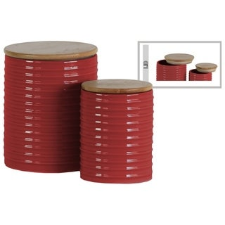 Ribbed Patterned Cylindrical Ceramic Canister With Wooden Lid, Set of 2, Red