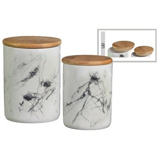 Ceramic Cylindrical Canister With Bamboo Lid, Set of Two, Marbleized White