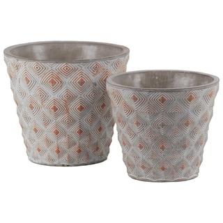 Cement Round Embossed Concentric Diamond Design Pot, Set of 2, Vermillion