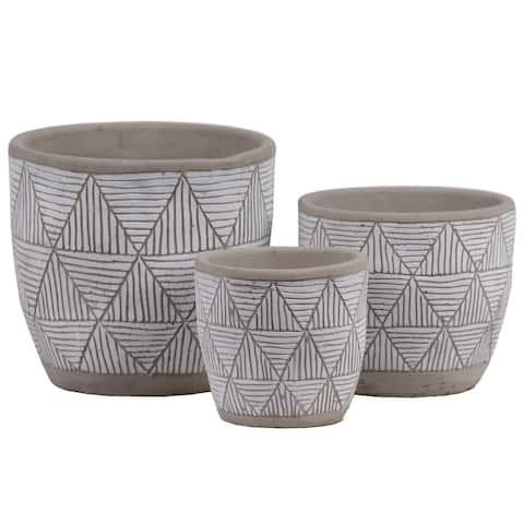 Irregular Stoneware Pot With Embossed Lattice Triangle Design, Set of 3, Gray