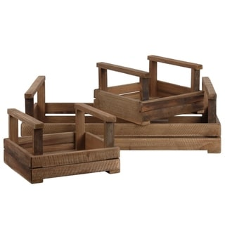 Slatted Wooden Tray With Long Side Handles, Set of 3, Brown