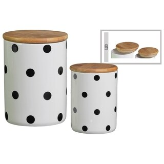 Cylindrical Ceramic Canister with Printed Polka Dot Design, Set of 2, White