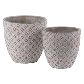 Cement Round Embossed Diamond Design Pot, Set of 2, Vermillion