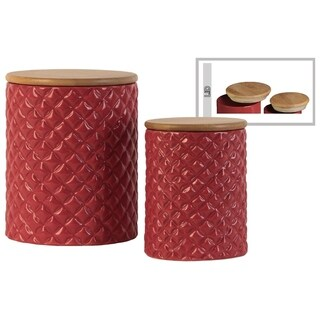 Cylindrical Ceramic Canister With Lattice Diamond Design, Set of 2, Red