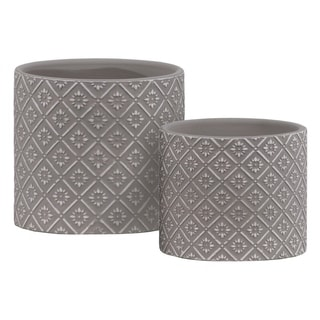 Stoneware Cylindrical Embossed Lattice Floral Design Pot, Set of 2, Gray