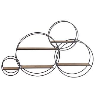 Metal Round Wall Shelf With 5 Wooden Shelves, Set of 3, Gunmetal Gray