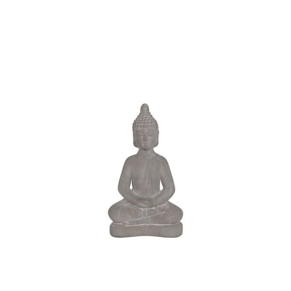 Ceramic Meditating Buddha Figurine With Rounded Ushnisha, Small, Gray