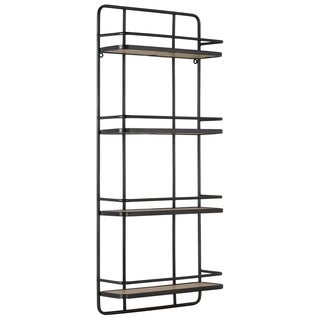 Metal Wall Shelf with 4 Wooden Tier , Metallic Gunmetal Gray