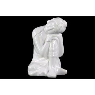 Ceramic Sitting Buddha Figurine With Rounded Ushnisha, Glossy White