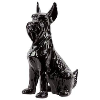 Sitting Scottish Terrier Dog Figurine In Ceramic, Glossy Black