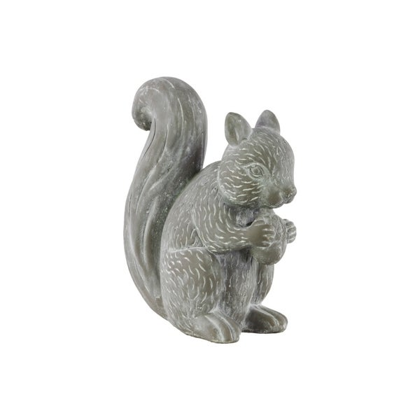 Cemented Squirrel Figurine, Washed Gray
