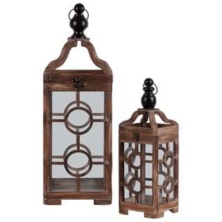 Wooden Lantern With Metal Round Finial Top , Set of 2, Brown
