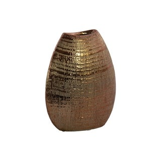 Ceramic Biconvex Crescent Ribbed Design Vase, Distressed Copper Finish