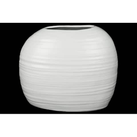 Ceramic Tall Irregular Vase With Combed Design, White