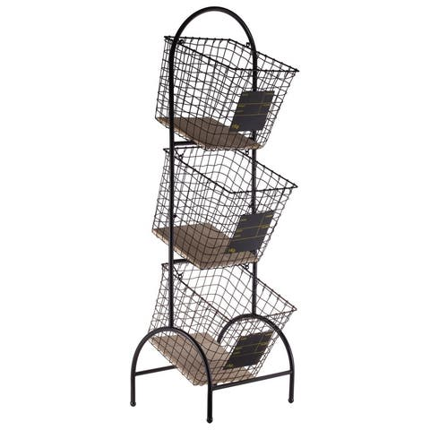 Metal Cart With 3 Tier Baskets And Wood Surface, Black