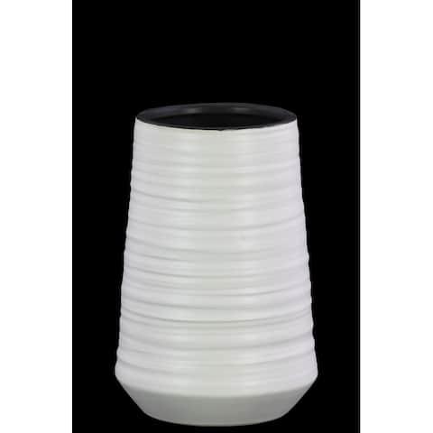 Round Ceramic Vase With Combed Design, Medium, White