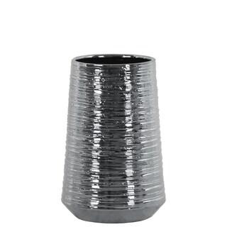 Round Ceramic Vase With Combed Design, Medium, Silver