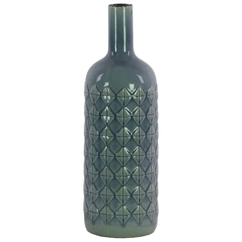Ceramic Bottle Vase With Embossed Diamond Pattern, Large, Light Blue