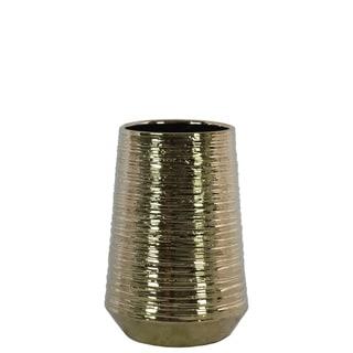 Round Ceramic Vase With Combed Design, Small, Gold