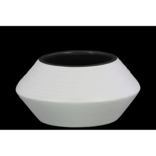 Flared Bellied Round Vase With Combed Design In Ceramic, Small, White