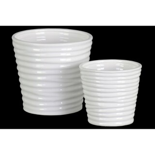 Horizontally Ribbed Patterned Ceramic Vase With Tapered Bottom, Set of 2, White