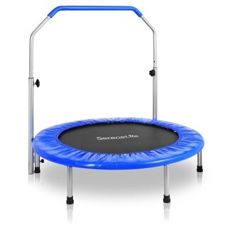 "SereneLife SLSPT409 Portable & Foldable Trampoline 40"" in-Home Mini Rebounder with Adjustable Handrail, Fitness Body Exercise"