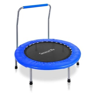 "SereneLife SLSPT369 Foldable Highly Elastic Sports Trampoline 36"" Heavy Duty Jumping Mat Safe for Kids with Handle Bar"