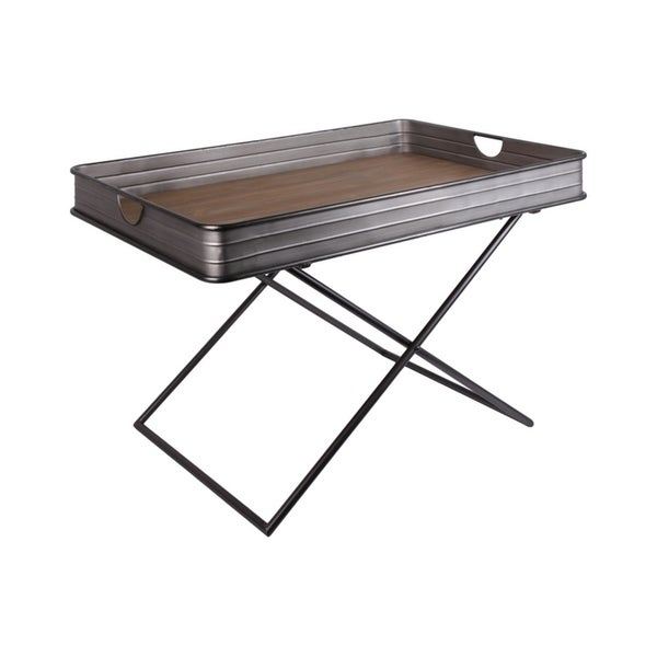 Shop Metal And Wood Tray Table With Crossed Legs Gray