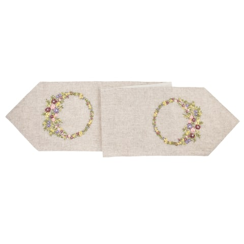 Hand Crafted Ribbon Art Floral Table Runner