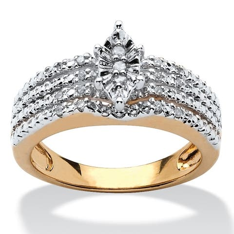 Gold over Sterling Silver Genuine Diamond Engagement Ring (1/10 cttw) - White