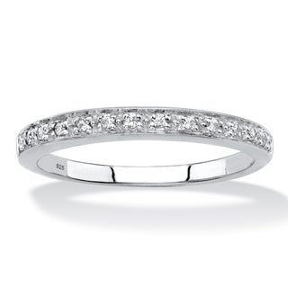 Platinum over Sterling Silver Genuine Diamond Accent Single Row Ring - White