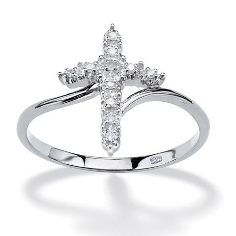 Platinum over Sterling Silver Genuine Diamond Accent Cross Ring - White