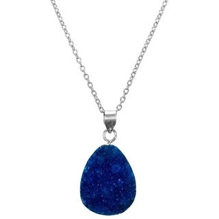 Handmade Rishima Druzy Drop Necklace - Dark Blue Silver (India)