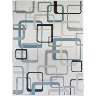 Home Basics Squares Cream Geometric Area Rug