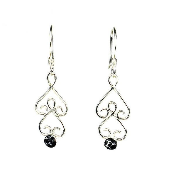 Handmade Silver Chandelier Earrings With Black Mosaic Stone Mexico