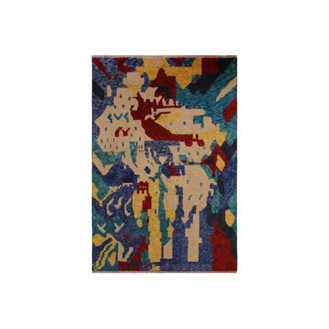 "Balouchi Albertin Ivory/Blue Wool Rug - 4'8 x 6'4 - 4'8"" x 6'4"" - 4'8"" x 6'4"""
