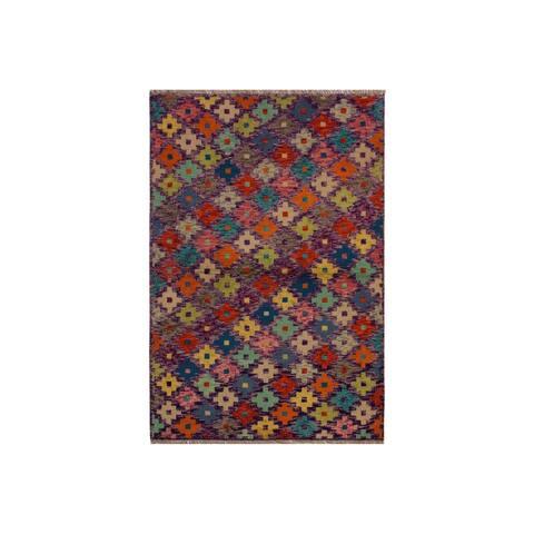 """Balouchi Alison Purple/Rust Wool Rug - 3'3 x 5'0 - 3'3"""" x 5'0"""" - 3'3"""" x 5'0"""""""